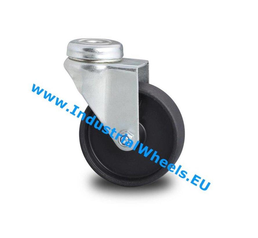 Institutional Swivel caster from pressed steel, bolt hole, Polypropylene Wheel, plain bearing, Wheel-Ø 100mm, 80KG