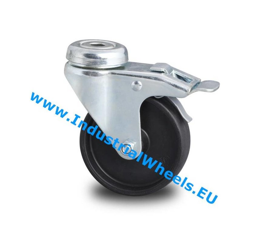 Institutional Swivel caster with brake from pressed steel, bolt hole, Polypropylene Wheel, plain bearing, Wheel-Ø 50mm, 40KG