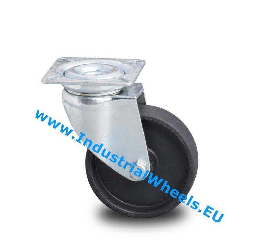 Institutional Swivel caster from pressed steel, plate fitting, Polypropylene Wheel, plain bearing, Wheel-Ø 50mm, 40KG
