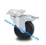 Lenkrolle mit Feststeller, Ø 50mm, Polypropylen Rad, 40KG