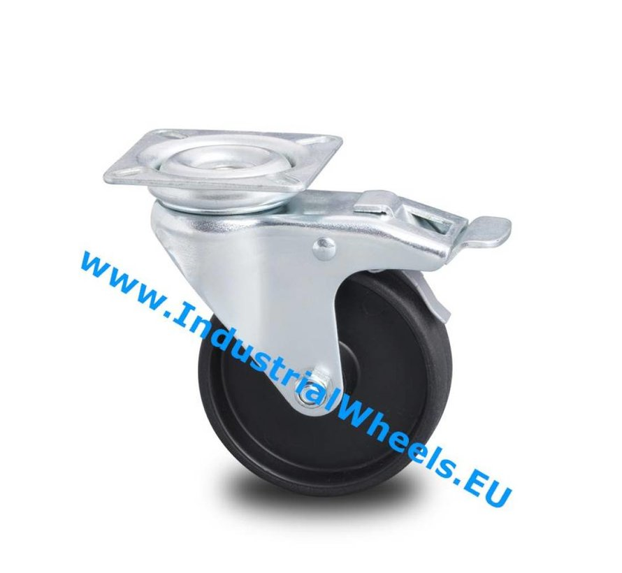 Institutional Swivel caster with brake from pressed steel, plate fitting, Polypropylene Wheel, plain bearing, Wheel-Ø 50mm, 40KG