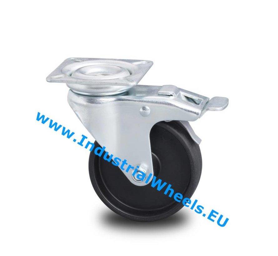Institutional Swivel caster with brake from pressed steel, plate fitting, Polypropylene Wheel, plain bearing, Wheel-Ø 75mm, 60KG