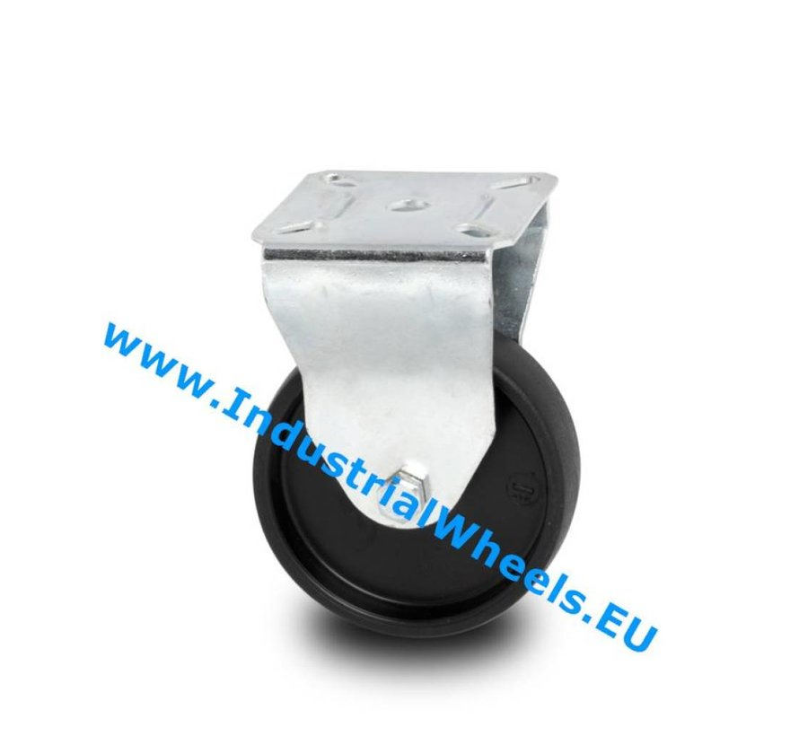 Institutional Fixed caster from pressed steel, plate fitting, Polypropylene Wheel, plain bearing, Wheel-Ø 75mm, 60KG