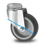 Drejeligt hjul, Ø 75mm, grå termoplastisk gummi afsmitningsfri, 75KG