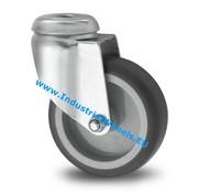 Roulette pivotante, Ø 75mm, caoutchouc thermoplastique gris non tachant, 75KG