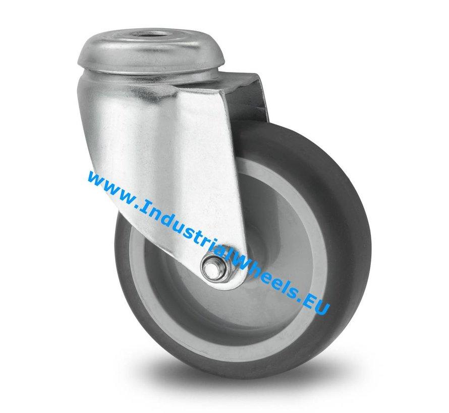 Ruedas para colectividades Rueda giratoria chapa de acero, agujero pasante, goma termoplástica gris no deja huella, buje liso, Rueda-Ø 75mm, 75KG