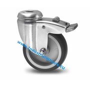 Rueda giratoria con freno, Ø 75mm, goma termoplástica gris no deja huella, 75KG