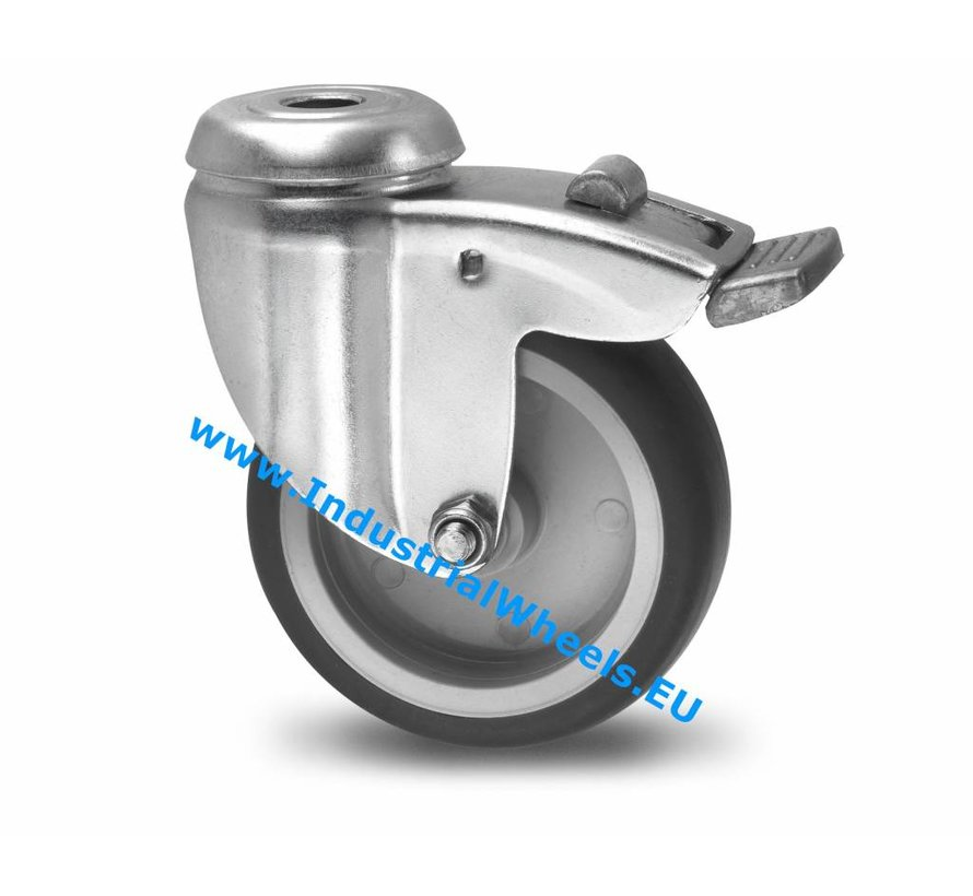 Institutional Swivel caster with brake from pressed steel, bolt hole, thermoplastic rubber grey non-marking, plain bearing, Wheel-Ø 75mm, 75KG