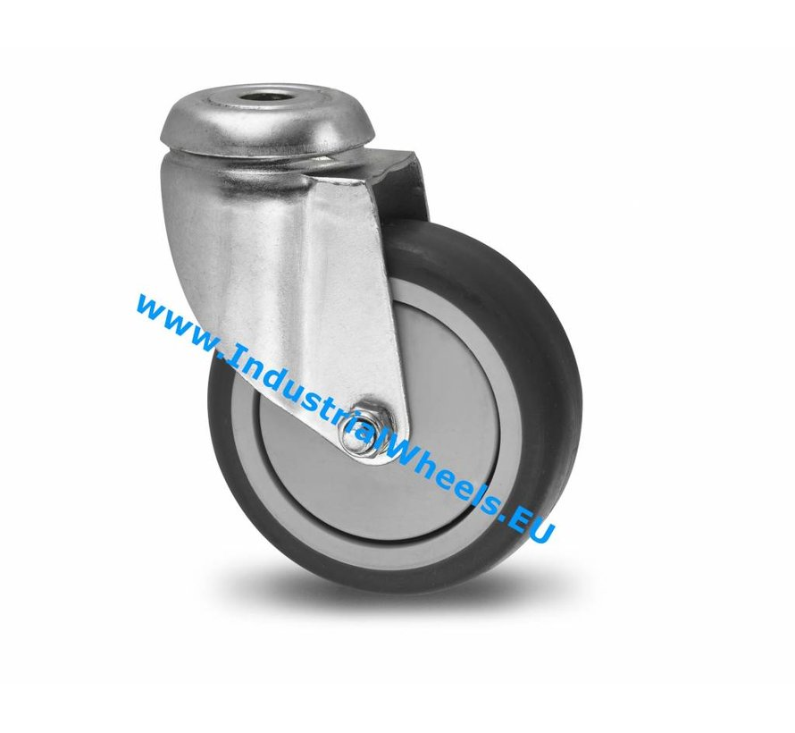 Institutional Swivel caster from pressed steel, bolt hole, thermoplastic rubber grey non-marking, precision ball bearing, Wheel-Ø 100mm, 80KG