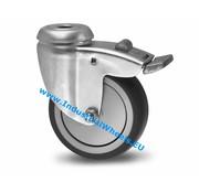 Roulette pivotante avec blocage, Ø 75mm, caoutchouc thermoplastique gris non tachant, 75KG