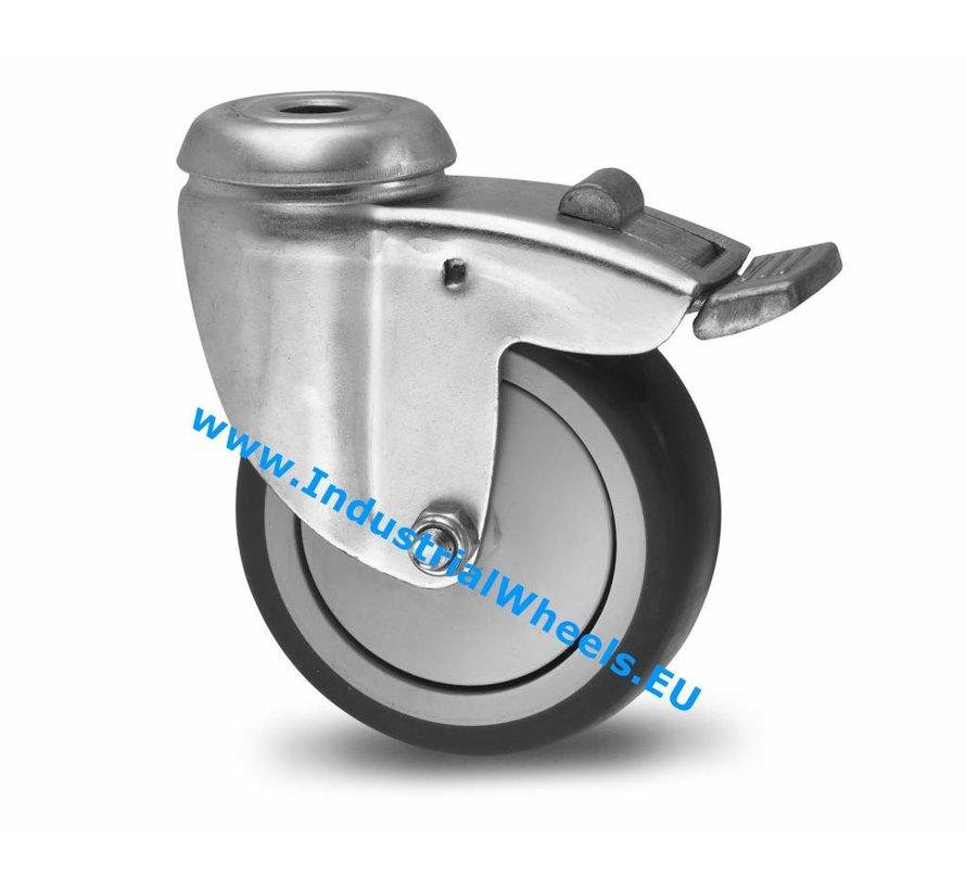 Ruedas para colectividades Rueda giratoria con freno chapa de acero, agujero pasante, goma termoplástica gris no deja huella, cojinete de bolas de precisión, Rueda-Ø 75mm, 75KG