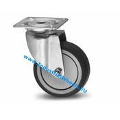 Lenkrolle, Ø 75mm, Thermoplastischer Gummi grau-spurlos, 75KG