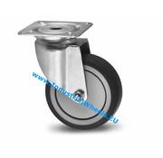 Roulette pivotante, Ø 100mm, caoutchouc thermoplastique gris non tachant, 80KG
