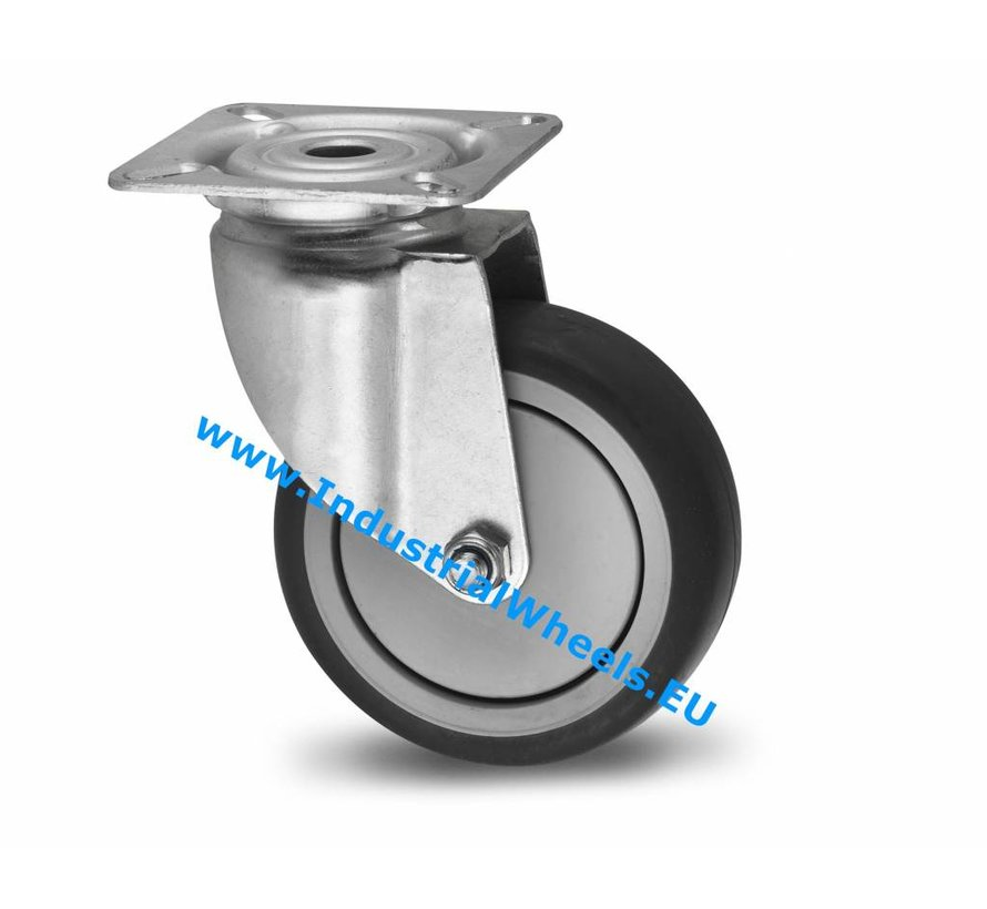 Roulettes pour collectivités Roulette pivotante de acier embouti, Fixation à platine, caoutchouc thermoplastique gris non tachant, roulements à billes de précision, Roue-Ø 100mm, 80KG