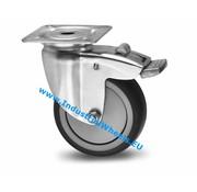 Drejeligt hjul bremse, Ø 100mm, grå termoplastisk gummi afsmitningsfri, 80KG