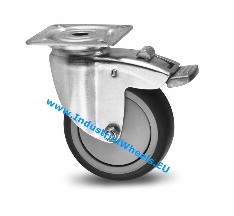 Institutional Swivel caster with brake from pressed steel, plate fitting, thermoplastic rubber grey non-marking, precision ball bearing, Wheel-Ø 100mm, 80KG
