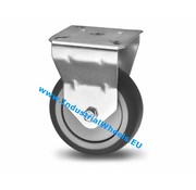 Fixed caster, Ø 100mm, thermoplastic rubber grey non-marking, 80KG