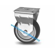 Roulette fixe, Ø 100mm, caoutchouc thermoplastique gris non tachant, 80KG