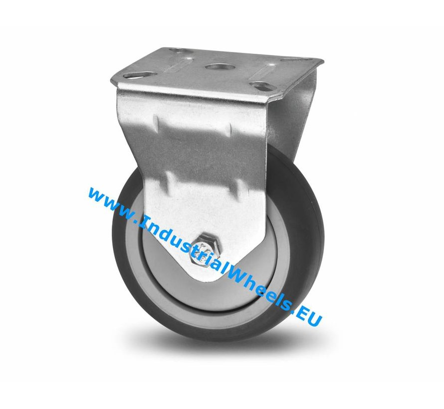 Institutional Fixed caster from pressed steel, plate fitting, thermoplastic rubber grey non-marking, precision ball bearing, Wheel-Ø 100mm, 80KG