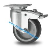 Drejeligt hjul bremse, Ø 50mm, grå termoplastisk gummi afsmitningsfri, 50KG