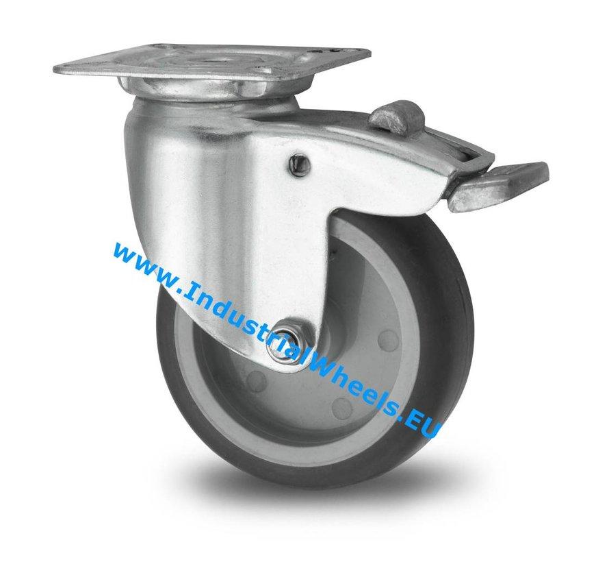 Ruedas para colectividades Rueda giratoria con freno chapa de acero, pletina de fijación, goma termoplástica gris no deja huella, buje liso, Rueda-Ø 50mm, 50KG