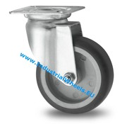 Swivel caster, Ø 75mm, thermoplastic rubber grey non-marking, 75KG
