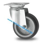 Rueda giratoria, Ø 75mm, goma termoplástica gris no deja huella, 75KG