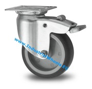 Swivel caster with brake, Ø 75mm, thermoplastic rubber grey non-marking, 75KG