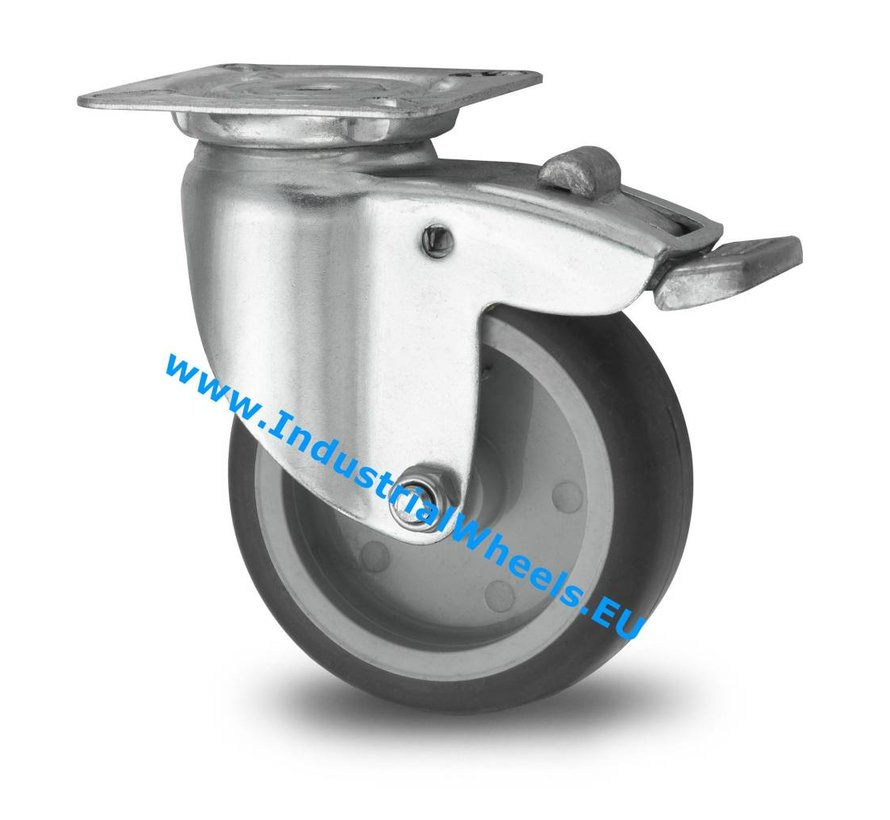 Institutional Swivel caster with brake from pressed steel, plate fitting, thermoplastic rubber grey non-marking, plain bearing, Wheel-Ø 75mm, 75KG