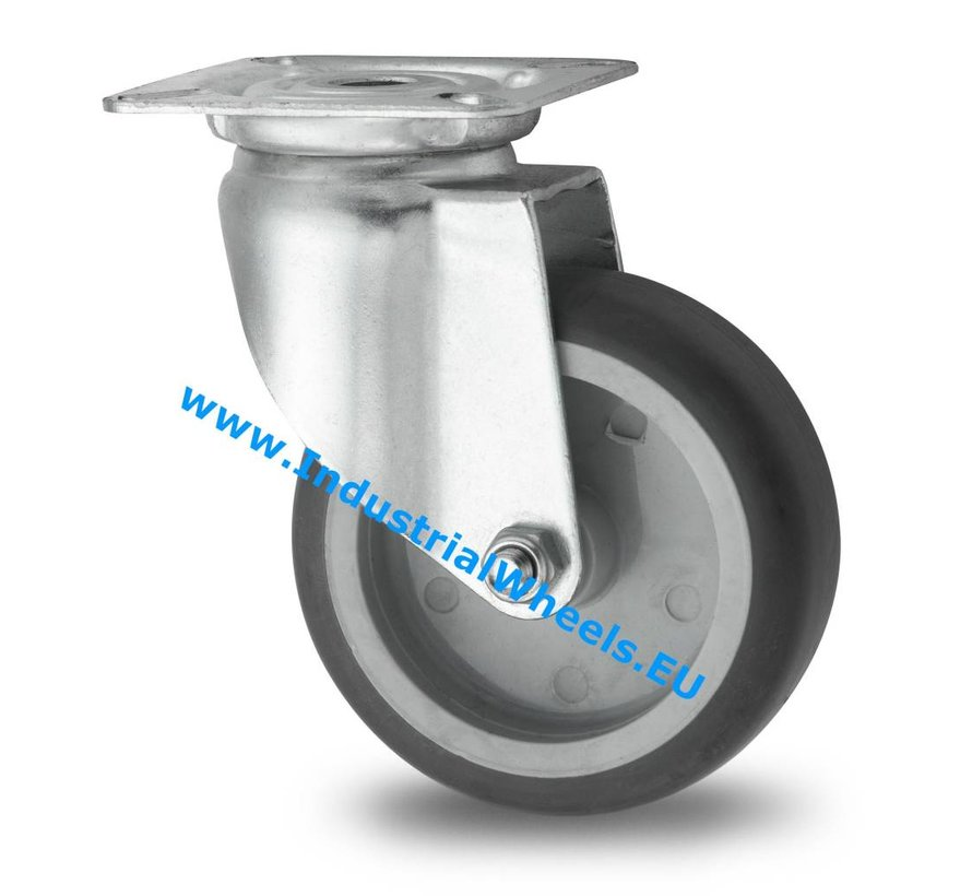 Institutional Swivel caster from pressed steel, plate fitting, thermoplastic rubber grey non-marking, plain bearing, Wheel-Ø 100mm, 80KG