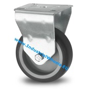 Fixed caster, Ø 75mm, thermoplastic rubber grey non-marking, 75KG