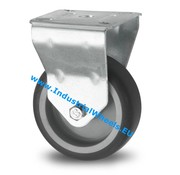 Roulette fixe, Ø 75mm, caoutchouc thermoplastique gris non tachant, 75KG