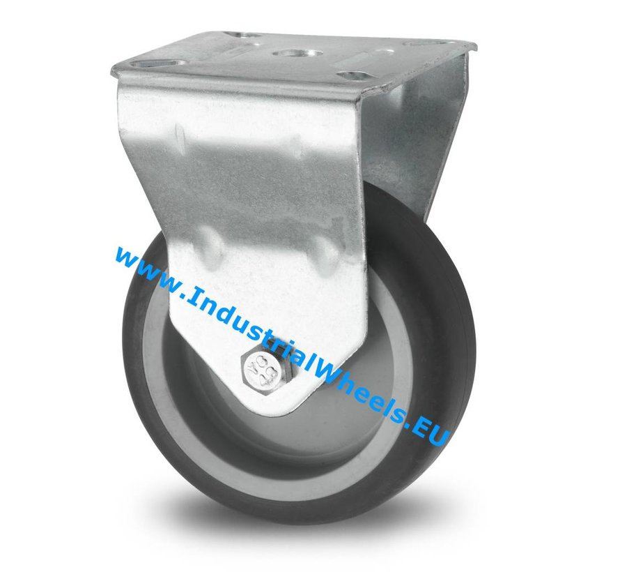 Institutional Fixed caster from pressed steel, plate fitting, thermoplastic rubber grey non-marking, plain bearing, Wheel-Ø 75mm, 75KG