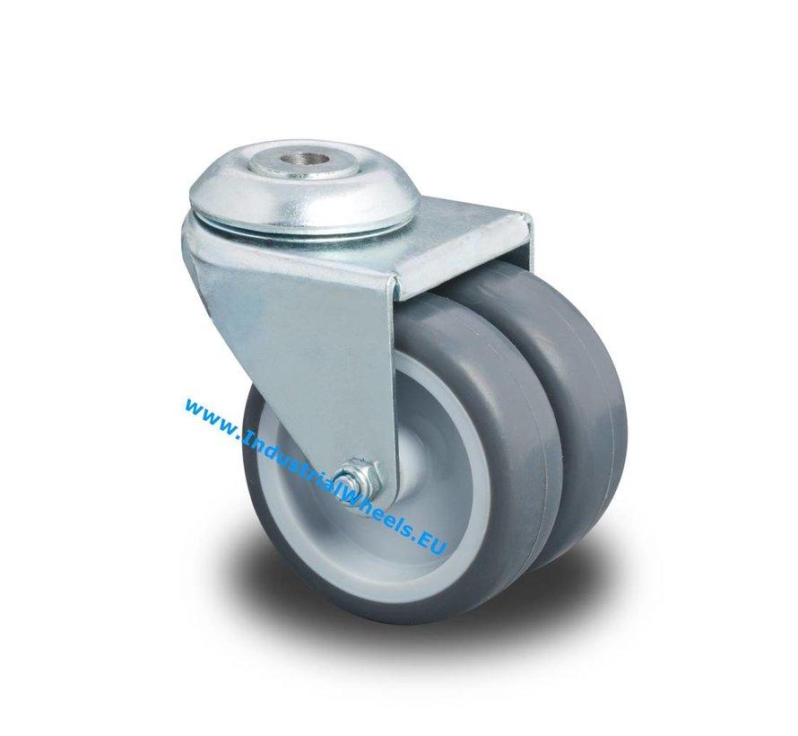 Rodas de aço Roda giratória chapa de aço, polipropileno Roda, rolamento liso, Roda-Ø 75mm, 100KG