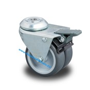 Swivel caster with brake, Ø 50mm, Polypropylene Wheel, 80KG