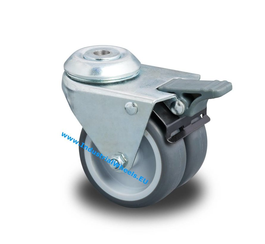 Institutional Swivel caster with brake from pressed steel, bolt hole, Polypropylene Wheel, plain bearing, Wheel-Ø 50mm, 80KG