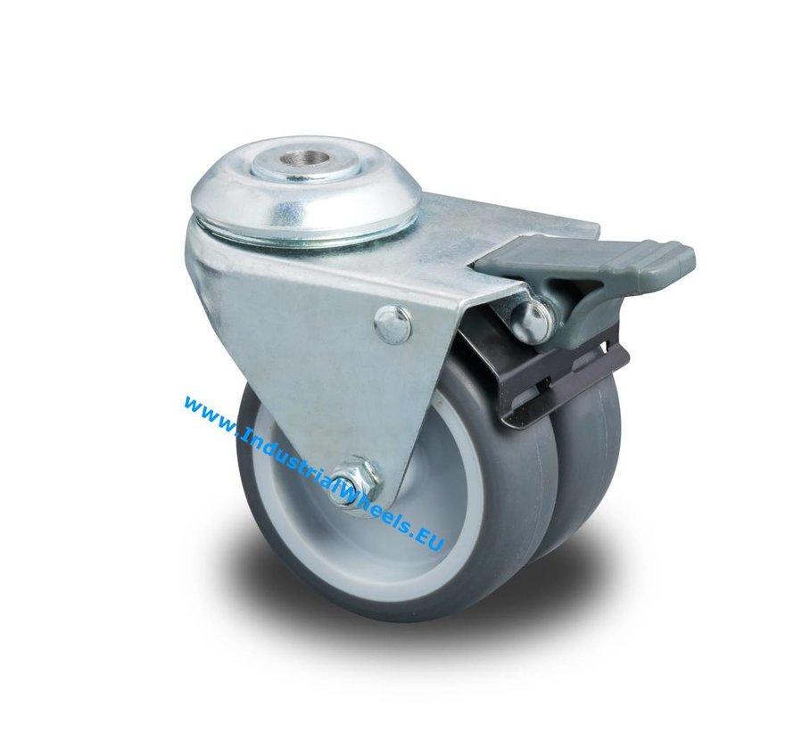 Apparaterollen Lenkrolle mit Feststeller aus Stahlblech, Anschraubloch, Polypropylen Rad, Gleitlager, Rad-Ø 75mm, 100KG