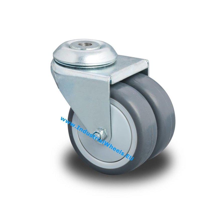 Institutional Swivel caster from pressed steel, bolt hole, Polypropylene Wheel, plain bearing, Wheel-Ø 75mm, 100KG