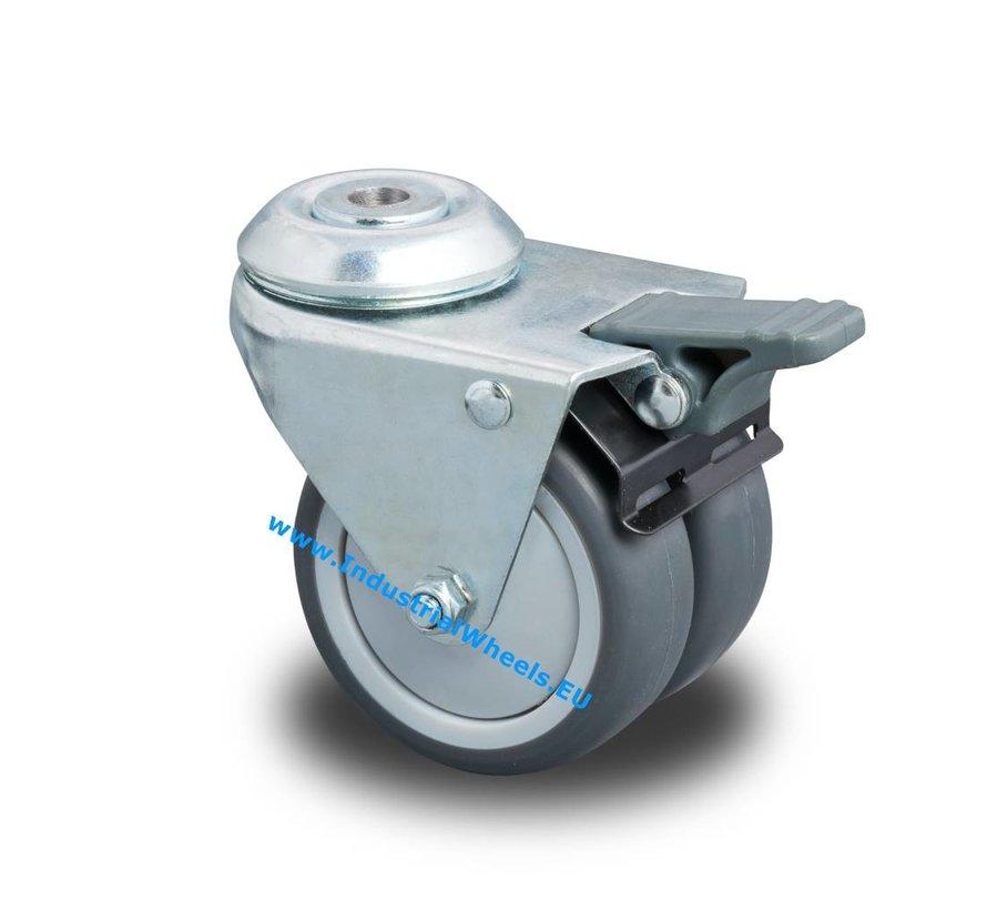 Apparaterollen Lenkrolle mit Feststeller aus Stahlblech, Anschraubloch, Polypropylen Rad, Gleitlager, Rad-Ø 50mm, 80KG