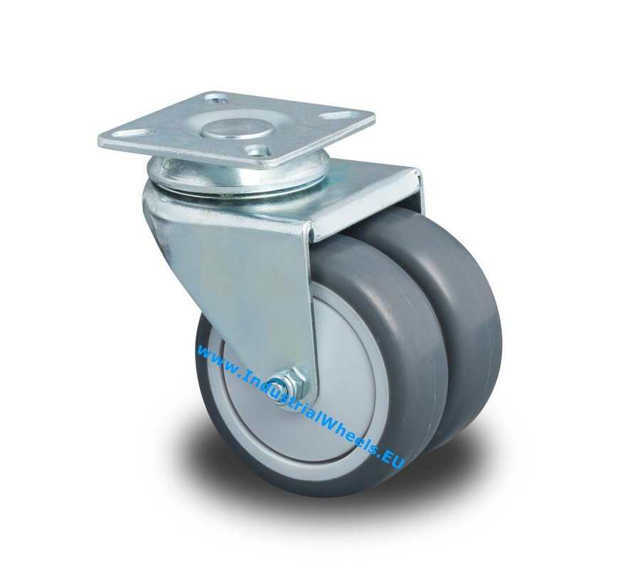 Institutional Swivel caster from pressed steel, plate fitting, Polypropylene Wheel, plain bearing, Wheel-Ø 50mm, 80KG
