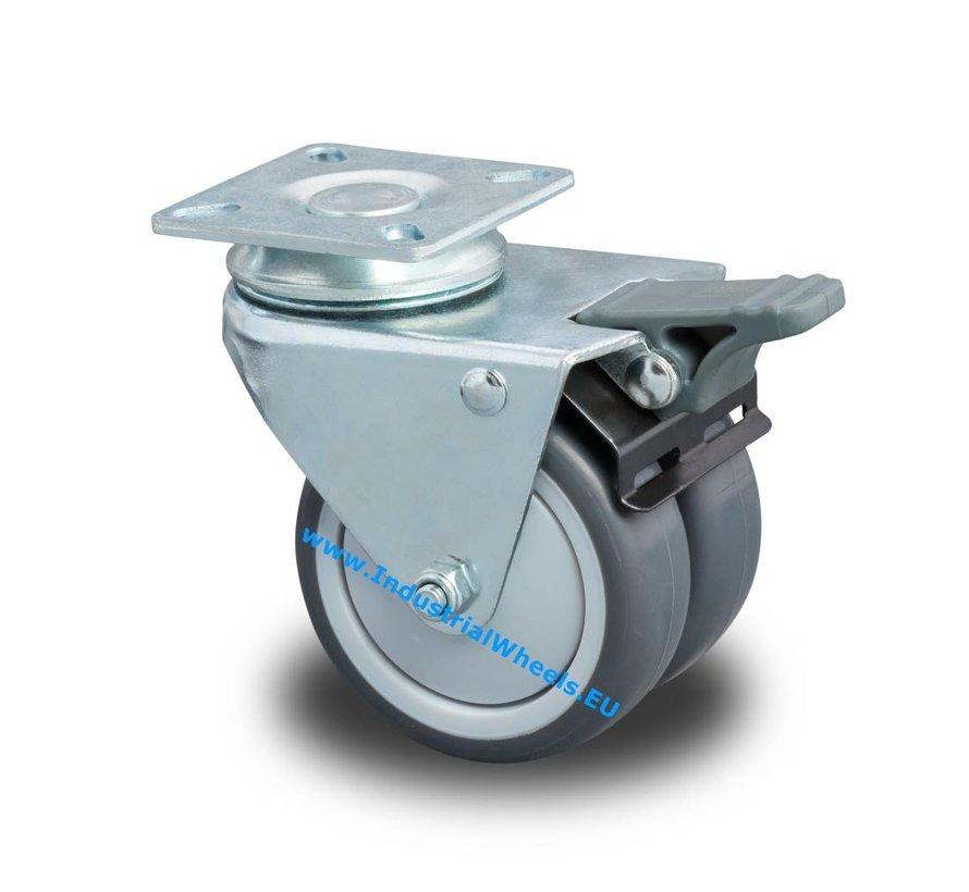 Institutional Swivel caster with brake from pressed steel, plate fitting, Polypropylene Wheel, plain bearing, Wheel-Ø 75mm, 100KG