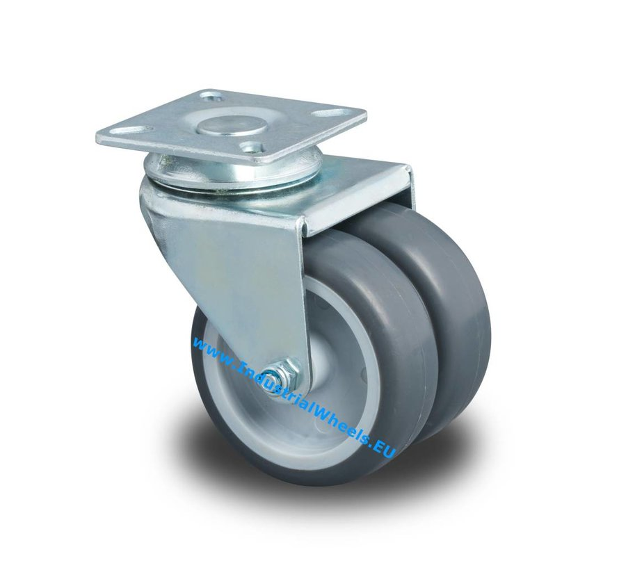 Institutional Swivel caster from pressed steel, plate fitting, Polypropylene Wheel, plain bearing, Wheel-Ø 75mm, 100KG