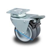 Drejeligt hjul bremse, Ø 50mm, Polypropylen Hjul, 80KG