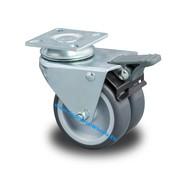 Roda giratória travão, Ø 75mm, polipropileno Roda, 100KG
