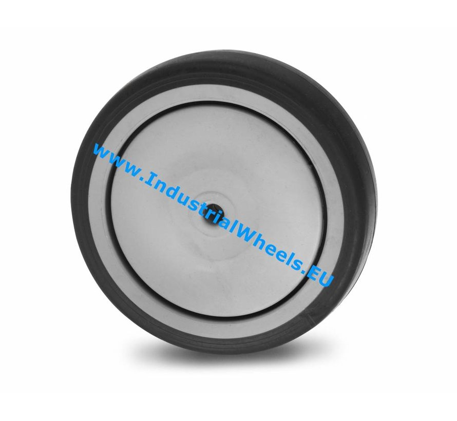 Institutional Wheel from thermoplastic rubber grey non-marking, Central precision ball bearing, Wheel-Ø 125mm, 100KG