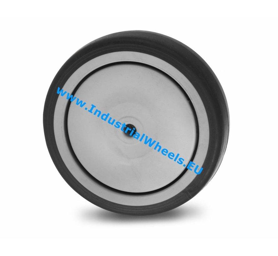 Ruedas para colectividades Rueda  goma termoplástica gris no deja huella, cojinete de bolas de precisión central, Rueda-Ø 125mm, 100KG
