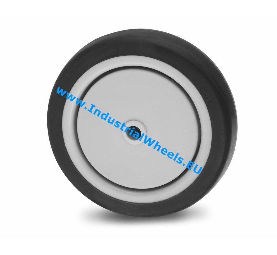 Ruote per collettività Ruota  gomma termoplastica grigia antitraccia, mozzo su cuscinetto centrale, Ruota -Ø 100mm, 80KG