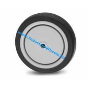 Hjul, Ø 75mm, grå termoplastisk gummi afsmitningsfri, 50KG
