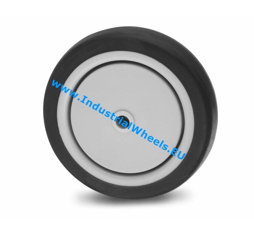 Ruedas para colectividades Rueda  goma termoplástica gris no deja huella, cojinete de bolas de precisión central, Rueda-Ø 75mm, 50KG