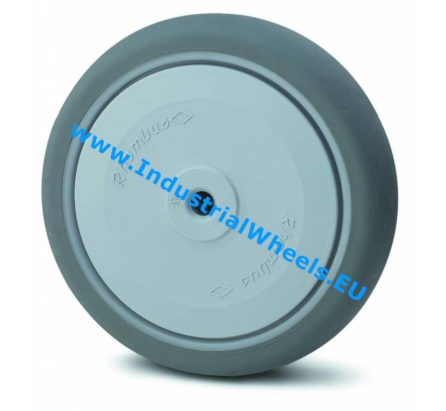 Institutional Wheel from thermoplastic rubber grey non-marking, Central precision ball bearing, Wheel-Ø 150mm, 120KG